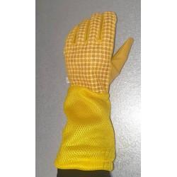 Ventiliuojamos odinės pirštinės, geltonos