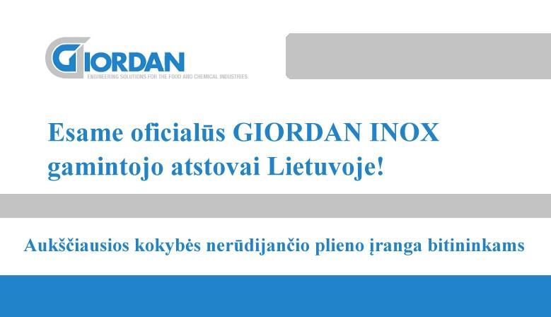 Esame GIORDAN INOX atstovai Lietuvoje!